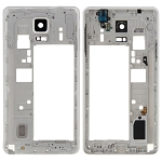 Middle Frame Bezel Back Plate Housing Camera Lens + Speaker and Earphone Jack for Galaxy Note 4 / N910V (White)